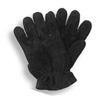 BLACK DEERSKIN FLEECE THINSULATE LINED GLOVES
